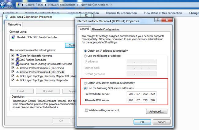 vao dafabet trên di động bằng cách thay đổi DNS window