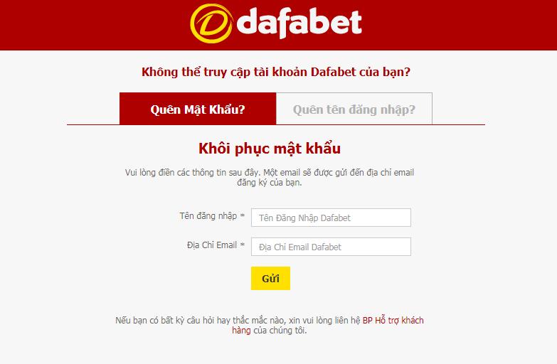 Lấy lại tên đăng nhập dafabet